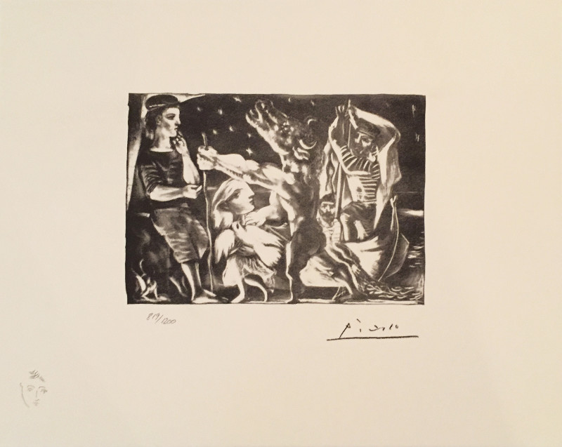 Pablo Picasso, Vollard Suite: Blind minotaur led through the night by girl with fluttering dove, 1935