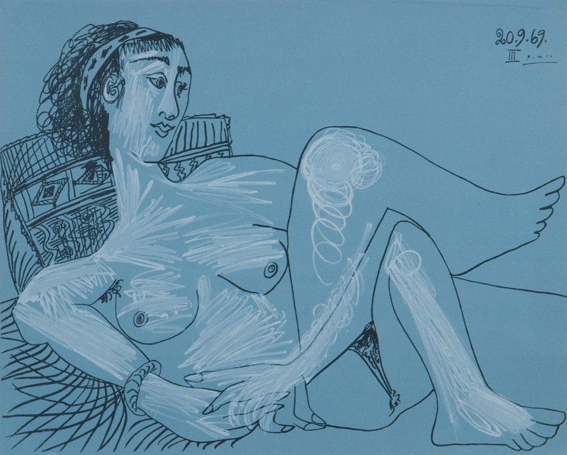Pablo Picasso, Woman with hair ribbon, 1969