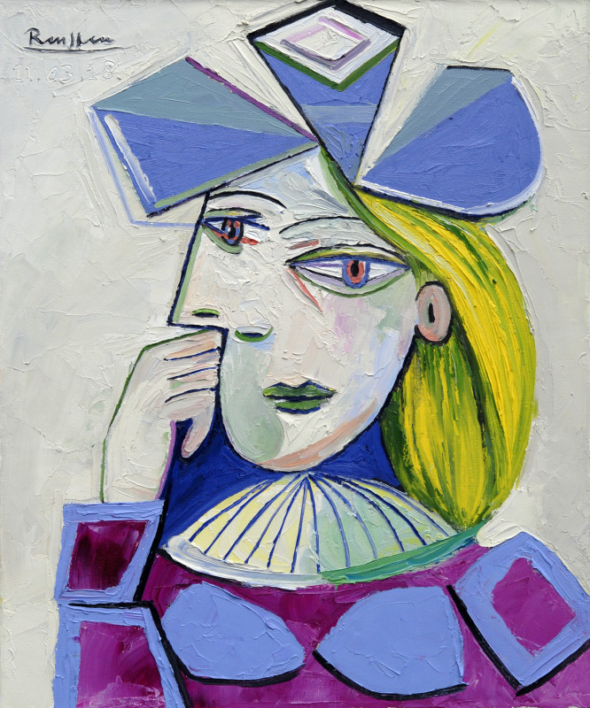 Erik Renssen, Woman in a blue hat, 2018
