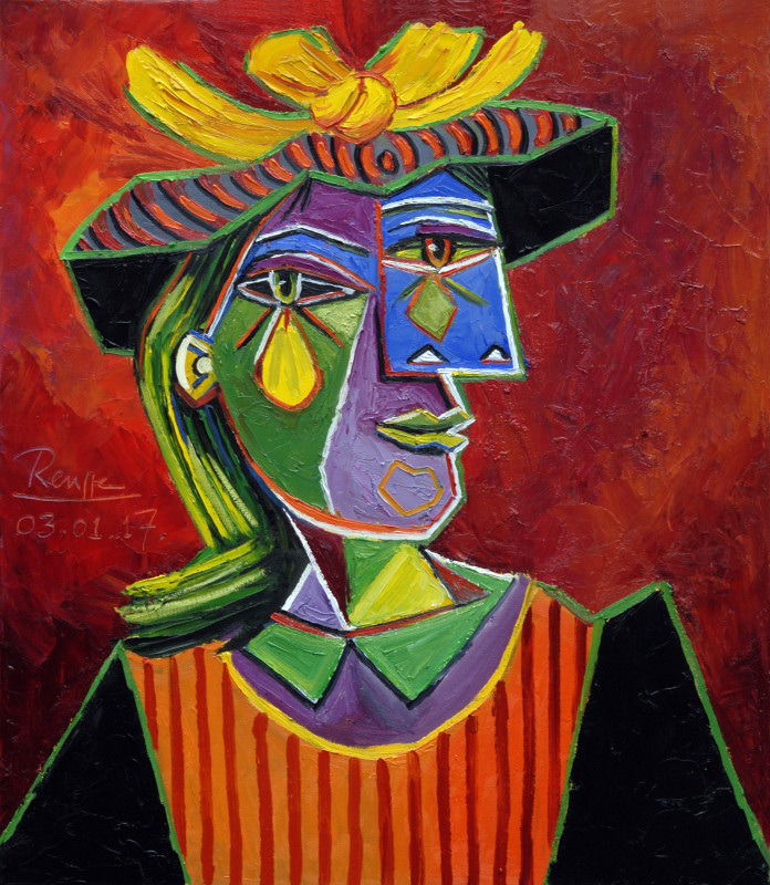 Erik Renssen, Woman in a striped hat, 2017