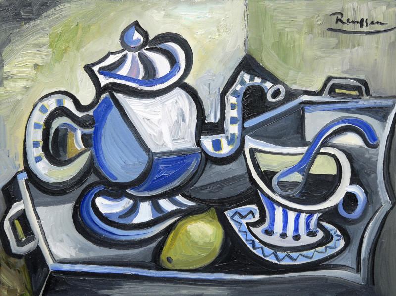 Erik Renssen, Teapot, cup and saucer and lemon, 2017