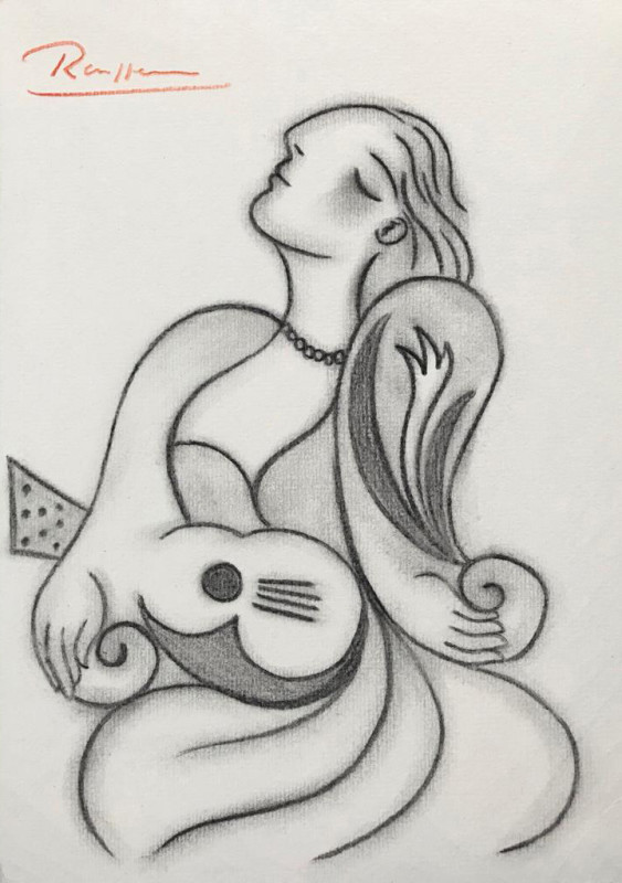 Erik Renssen, Woman with guitar, 2018