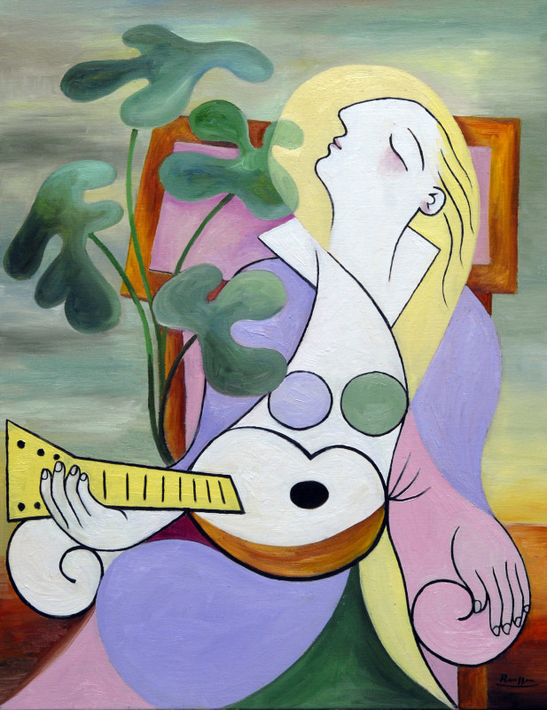 Erik Renssen, Seated woman with guitar, 2018