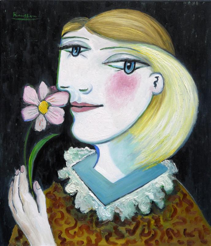 Erik Renssen, Woman with a pink flower, 2018