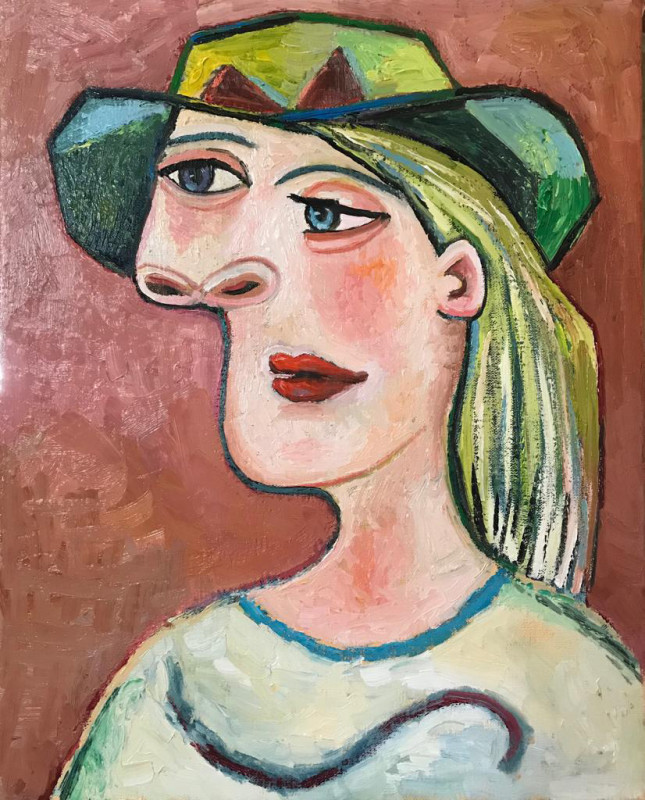 Erik Renssen, Woman in a green hat, 2019