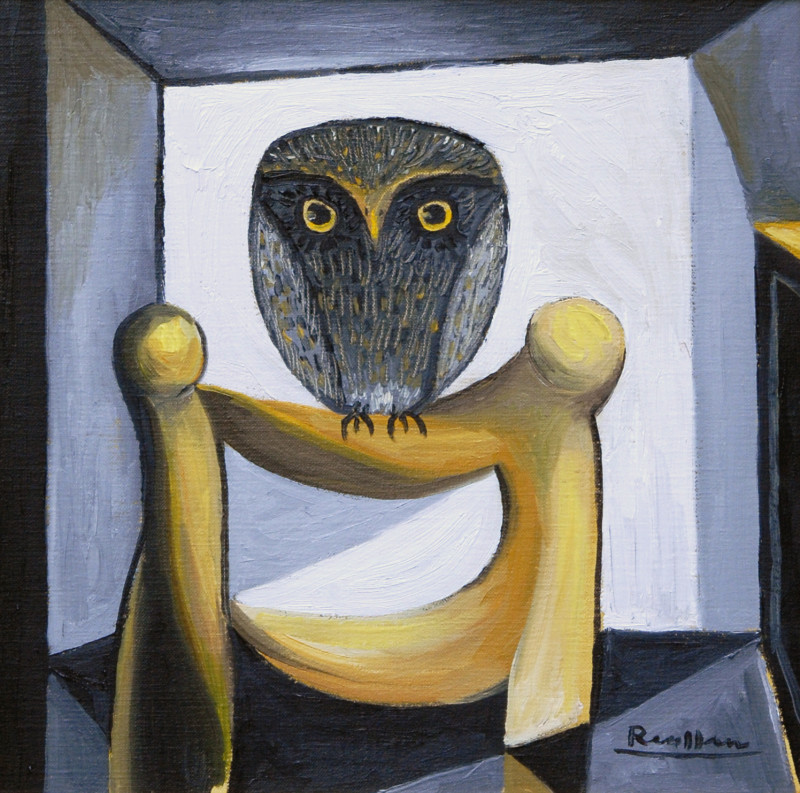 Erik Renssen, Owl on a chair, 2018