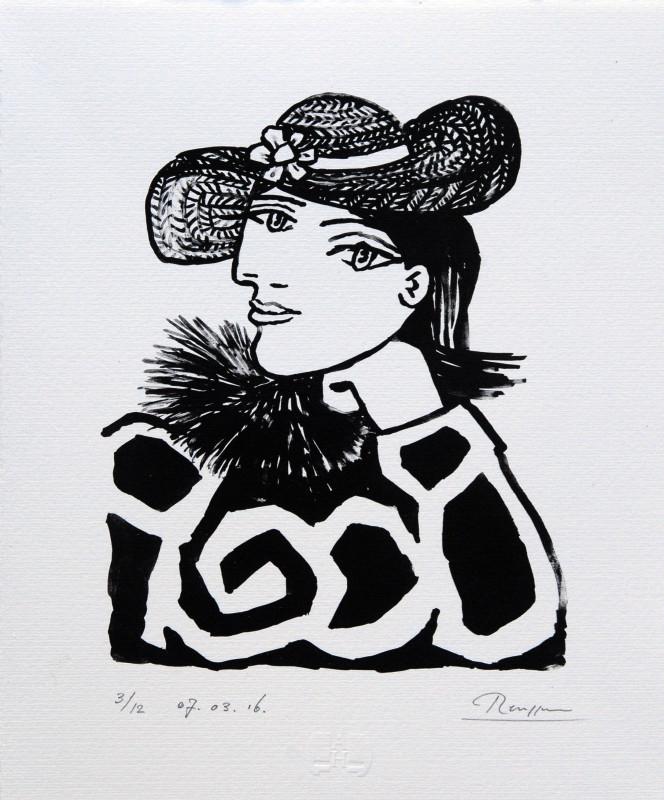 Erik Renssen, Lady in a straw hat with flower II, 2016
