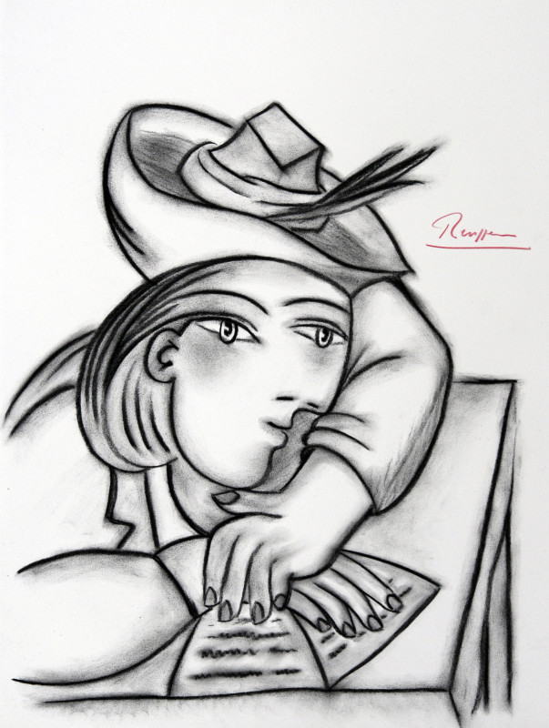 Erik Renssen, Reading woman in a hat, 2017