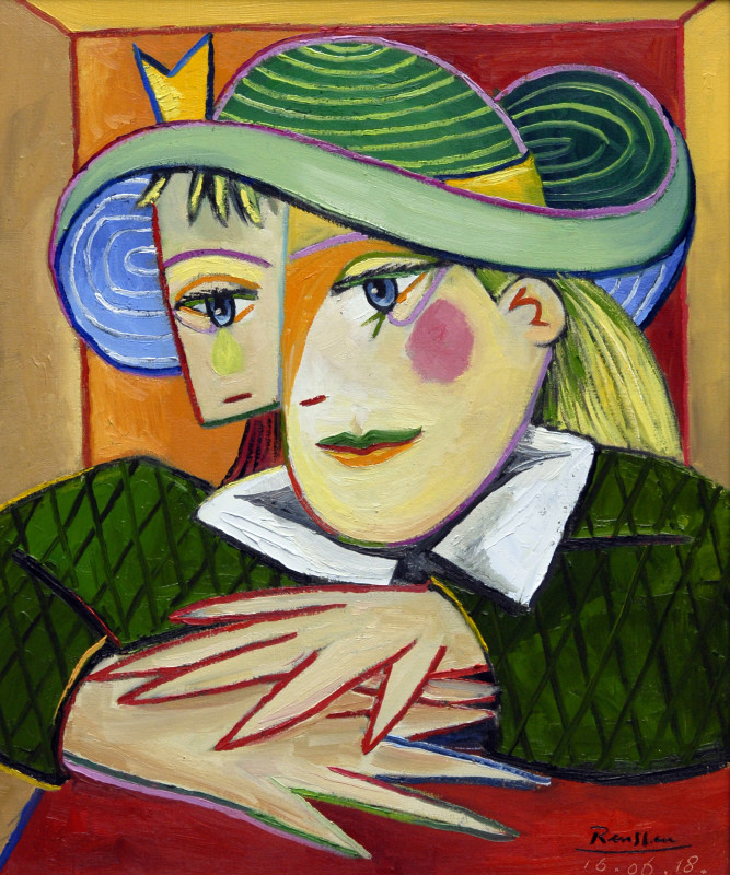 Erik Renssen, Woman in a green hat behind her desk, 2018