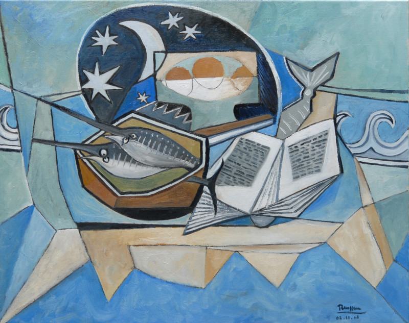Erik Renssen, Sword Fish and Oranges in a Bowl, 2008