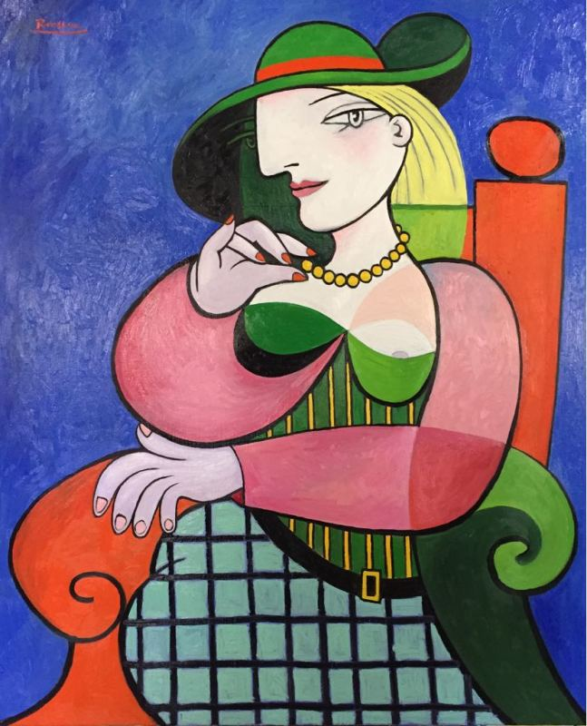 Erik Renssen, Seated woman in a green hat, 2018