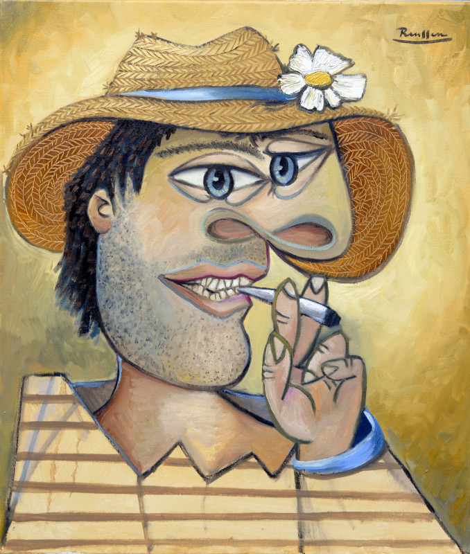 Erik Renssen, Man in a straw hat with flower, 2017
