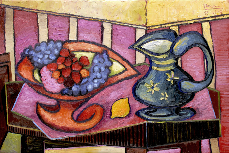 Erik Renssen, Strawberries and grapes in an orange fruit bowl, 2012