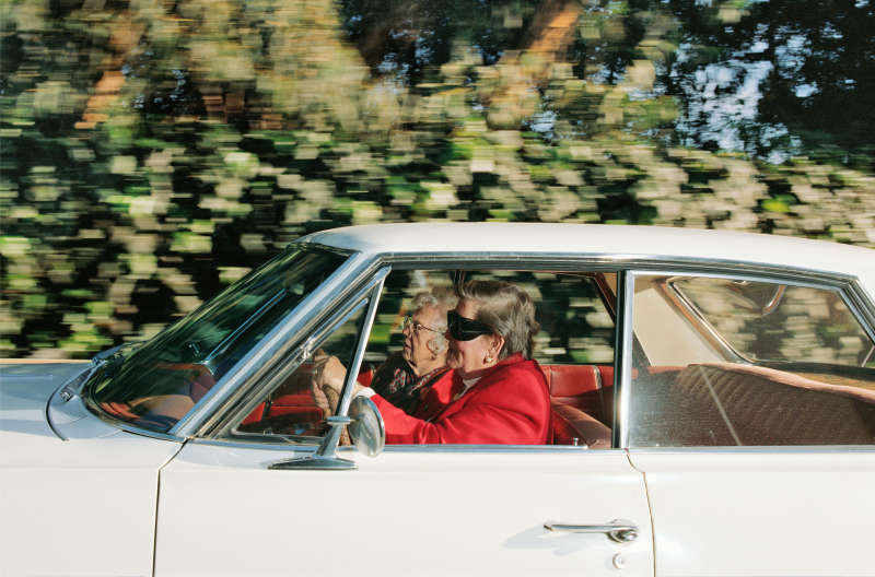 Women racing southwest at 41 mph along 26th Street near the Riviera Country Club, Pacific Palisades, California, at 1:14 pm on a Tuesday in February 1997