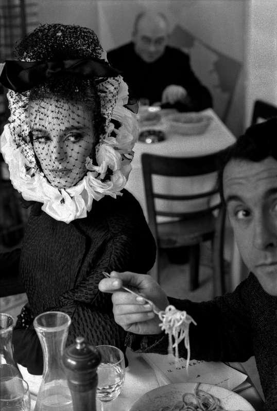 Roma, Italy for Harper's Bazaar (model with Spaghetti), 1962