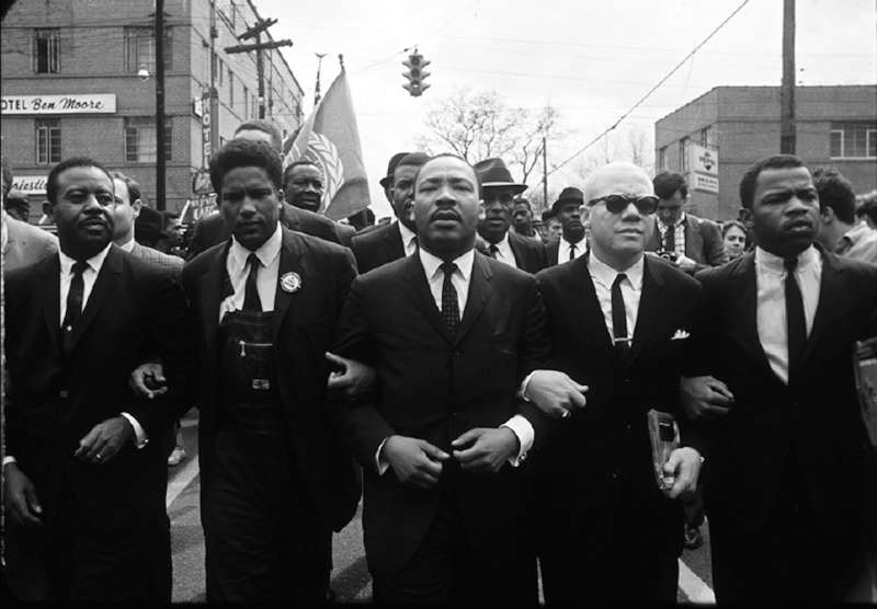 Martin Luther King with Group on Street, Montgomery, Alabama, 1965