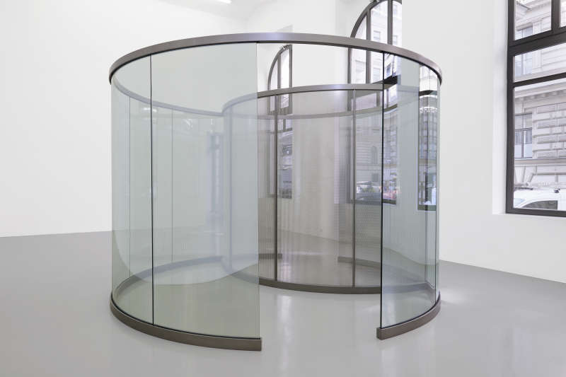 Dan Graham, Little Perforated Cylinder inside Big Two-Way Mirror Cylinder, 2019