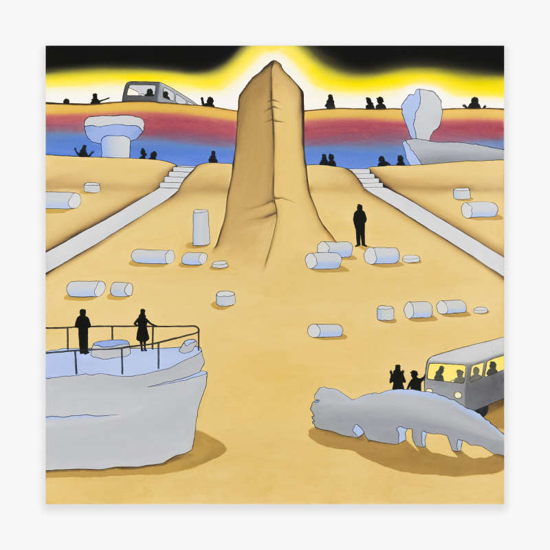 Roger Brown, Painted Desert (Including Monument Rock, Mushroom Rock, Ship Rock, Lion Rock, Balance Rock, and Petrified Forest with Tourists), 1971