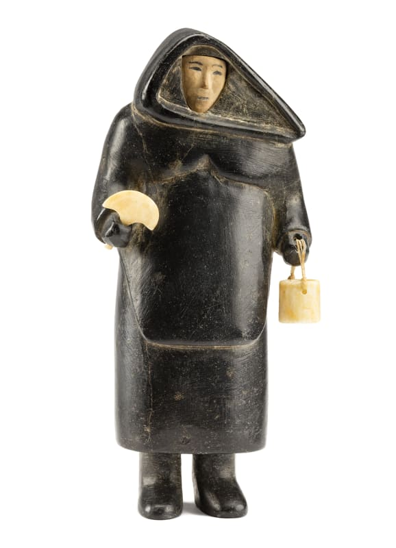UNIDENTIFIED ARTIST, PROBABLY INUKJUAK (PORT HARRISON), Standing Woman with Pail and Ulu, c. 1949-50