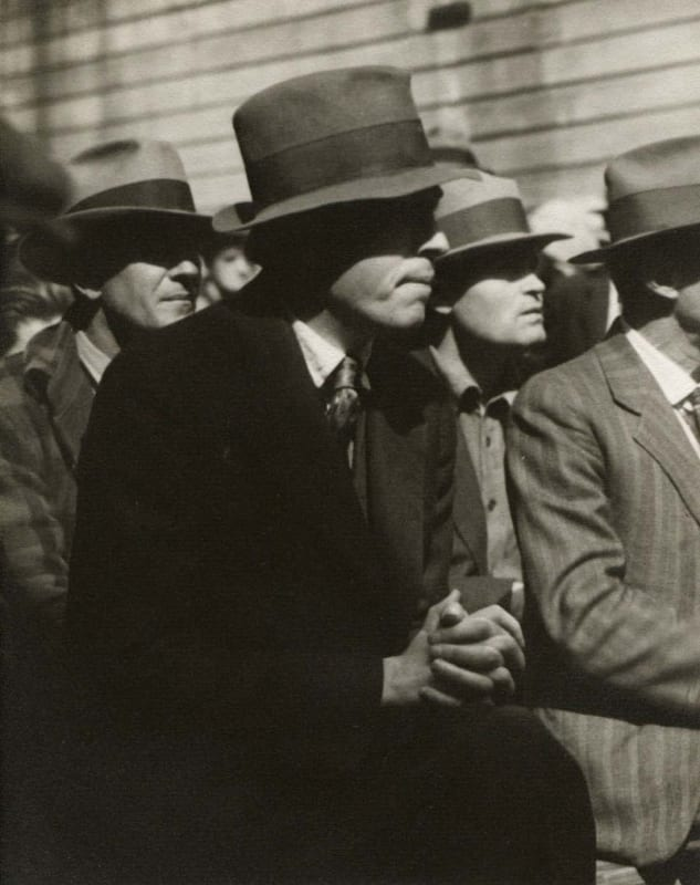 Dorothea Lange, Waterfront Protest - The Audience Listens, San Francisco, 1934