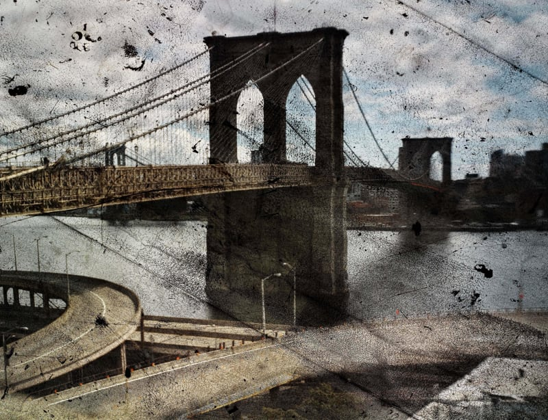 Abelardo Morell, Tent-Camera Image on Ground: Rooftop View of the Brooklyn Bridge, 2010