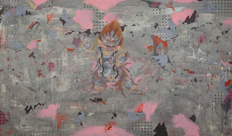 Baatarzorig Batjargal  Smoke, 2017  Acrylic on canvas  145 x 245 cm