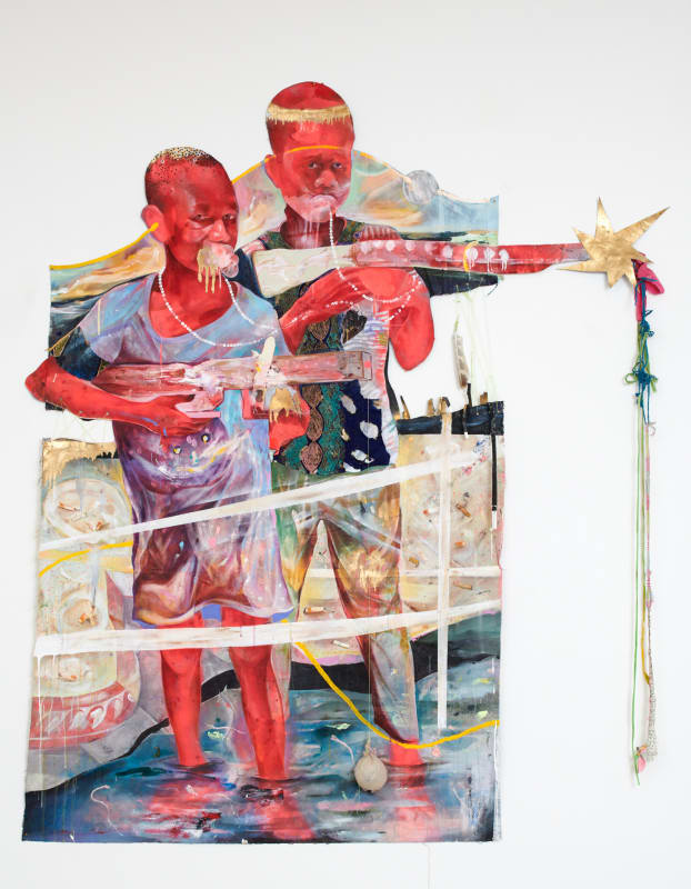 Lavar Munroe  Boys, 2018  Acrylic, spray paint, fabric, cigarette buds, rubber, string, feather and makeshift ball on cut canvas  80 x 64 in  203.2 x 162.6 cm