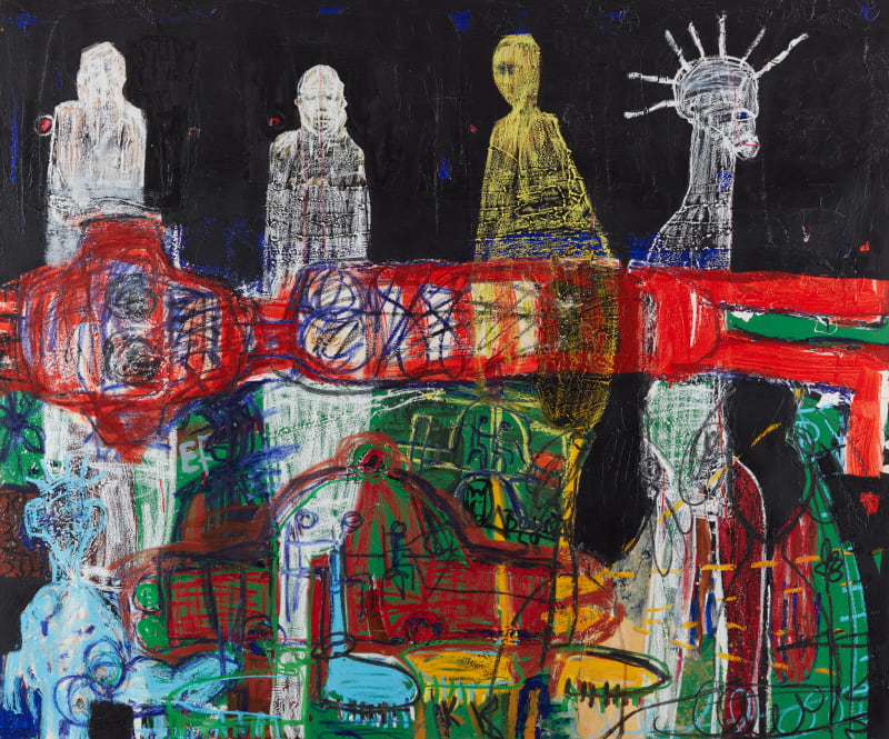 Aboudia  Fantômes des Migrants, 2019  Acrylic, collage & oil pastel on canvas  150 x 180 cm