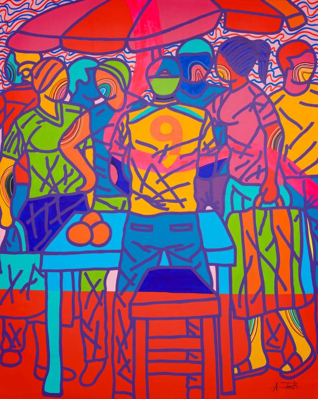 Ajarb Bernard Ategwa  Market Boy, 2018  Acrylic on canvas  200 x 160 cm