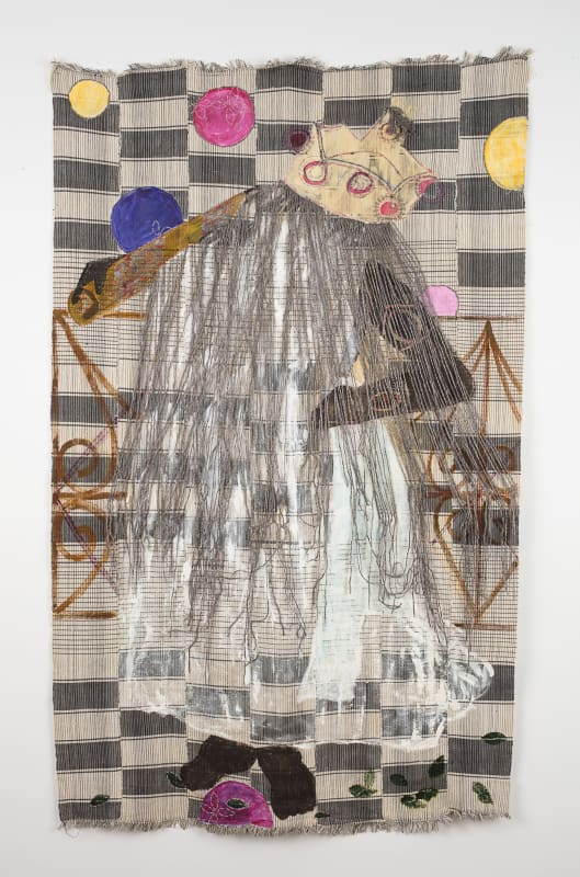 "Karen Hampton  Shape Shifter, 2016  Repurposed textile, pigment, synthetic fiber, cotton and silk yarn  78"" x 46-1/2"""