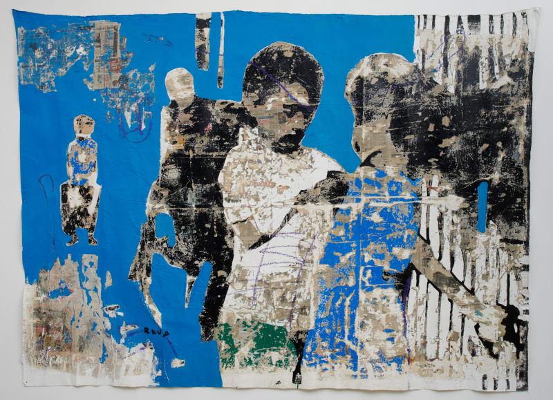 Armand Boua  Kouman de Kekechoz, 2018  Acrylic & collage on canvas  82 5/8 x 110 1/4 in  210 x 280 cm