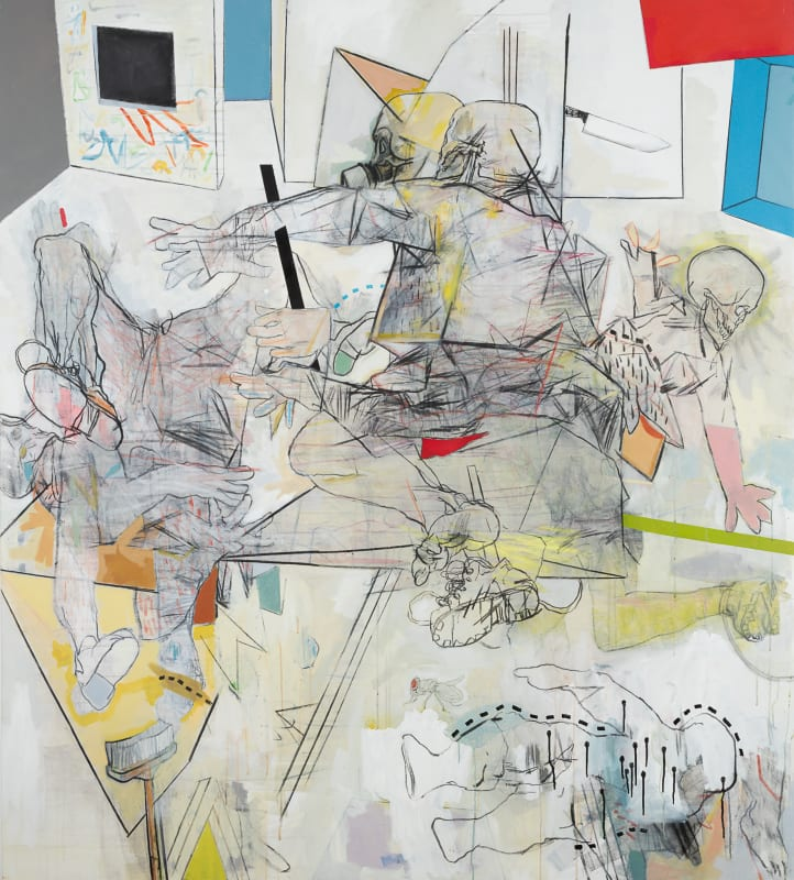 Thameur Mejri  Let me savage in, 2016  Charcoal, pencil, pastel & acrylic on canvas  200cm x 180cm