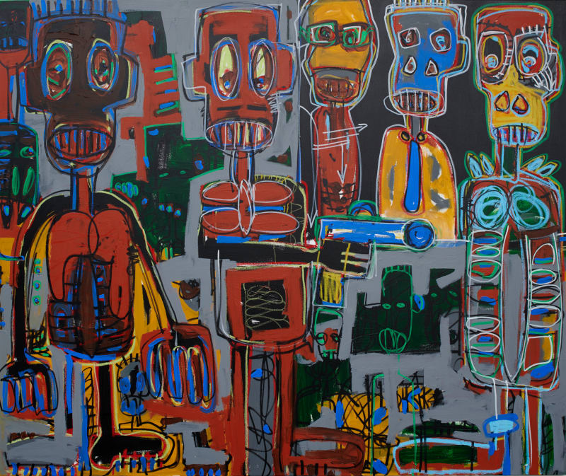Aboudia  Untitled, 2018  Acrylic, oil pastel & Posca on canvas  59 1/8 x 70 7/8 in  150 x 180 cm