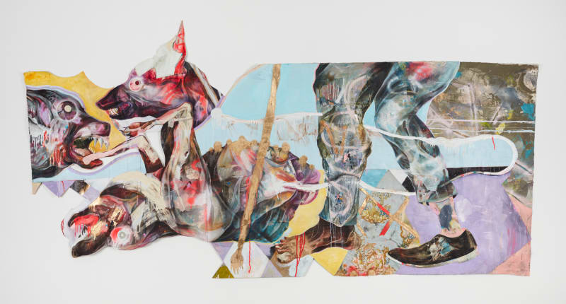 Lavar Munroe  When Dogs Die, They Go To Heaven, 2017  Acrylic, spray paint and found fabric on cut canvas  102 x 60 in