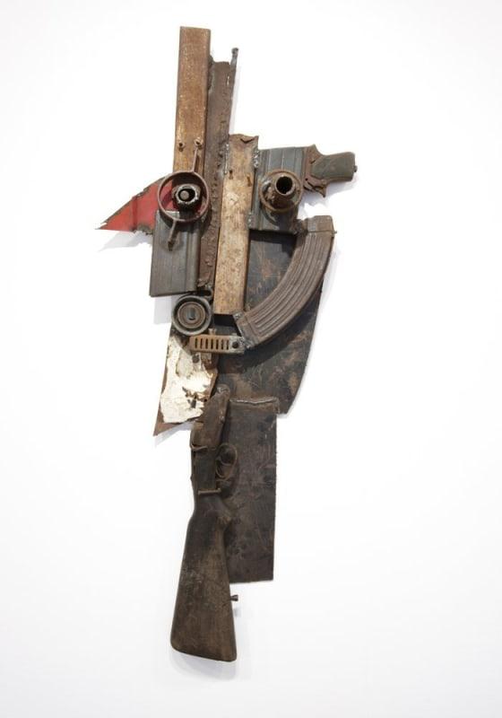 Goncalo Mabunda  Untitled (Mask), 2011  Decommissioned welded arms  110 x 43 x 15 cm