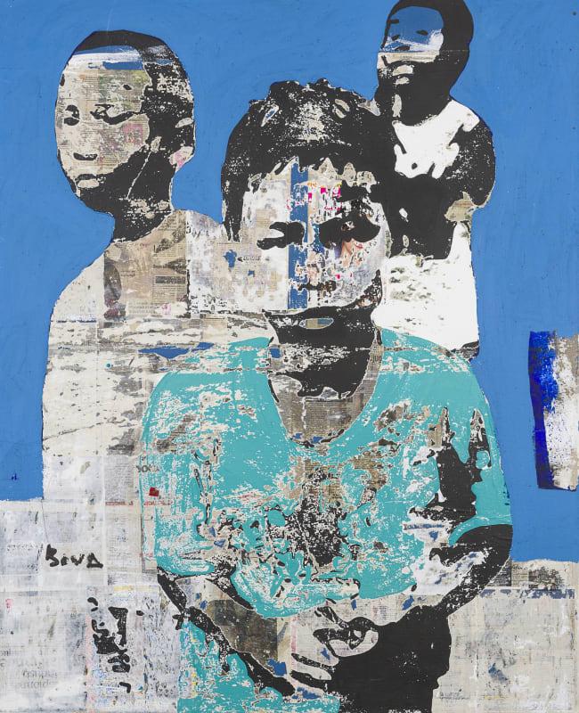Armand Boua  Untitled, 2016  Acrylic & collage on canvas  154 x 125 cm
