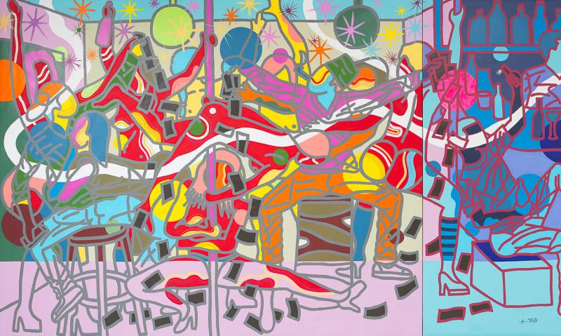 Ajarb Bernard Ategwa  Red Dancers, 2017  Acrylic on canvas  240 x 400 cm