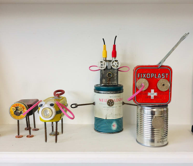 Junk Robots created by children participating in kids classes at Turnstone Studio