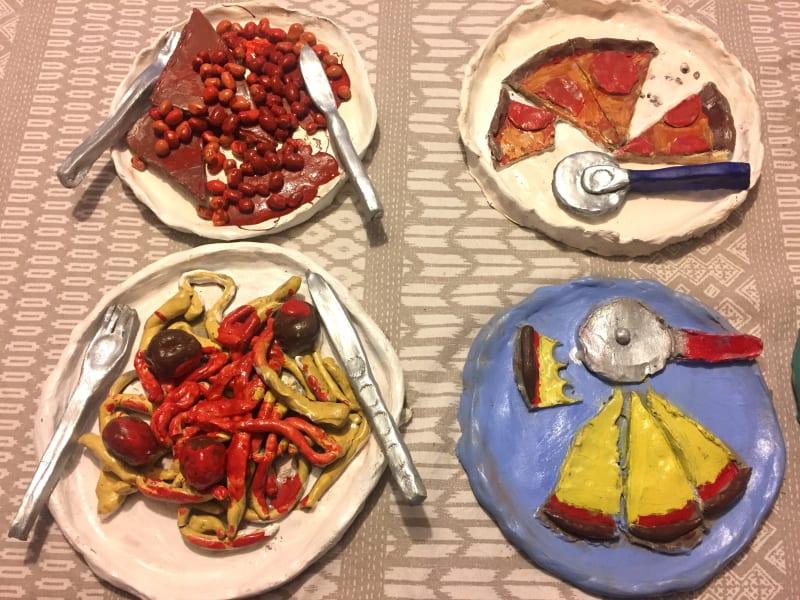Oldenberg inspired food plates created by children attending the Turnstone Studio art classes