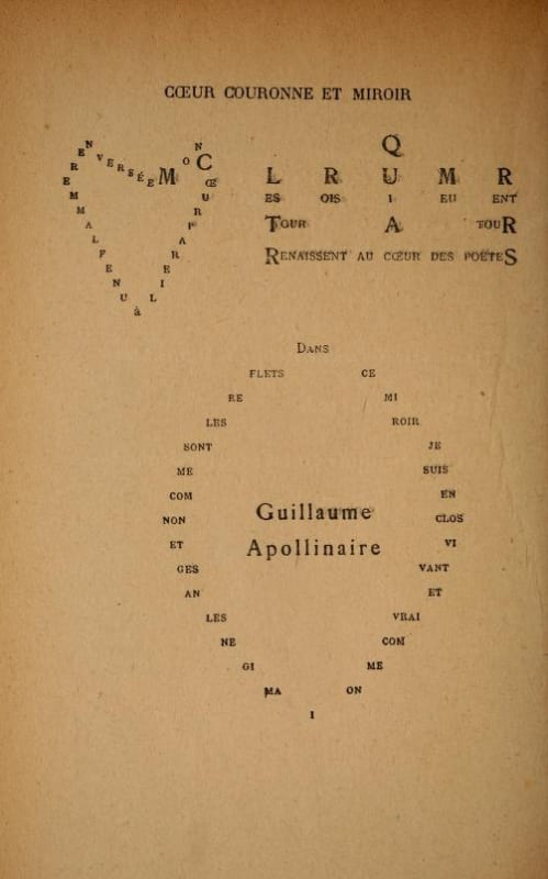 A page from Guillaume Apollinaire's Calligrammes (via)