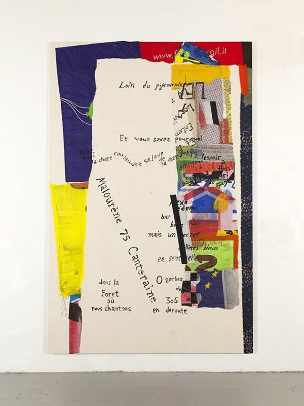 Joe Fyfe, Loin du pigeonnier, 2018, Canvas, ink, acrylic, cotton, nylon, 108 x 70 3/4 inches
