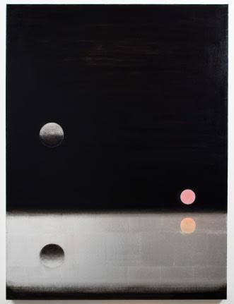 Lisa Beck, Elements 8, 2017, aluminum leaf, acrylic paint, oil paint, and enamel paint on canvas, 48 x 36 inches