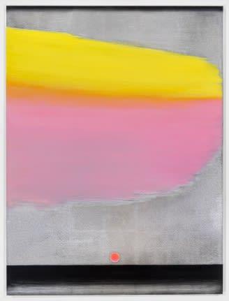 Lisa Beck, Elements 3, 2017, aluminum leaf, acrylic paint, oil paint, and enamel paint on canvas, 48 x 36 inches