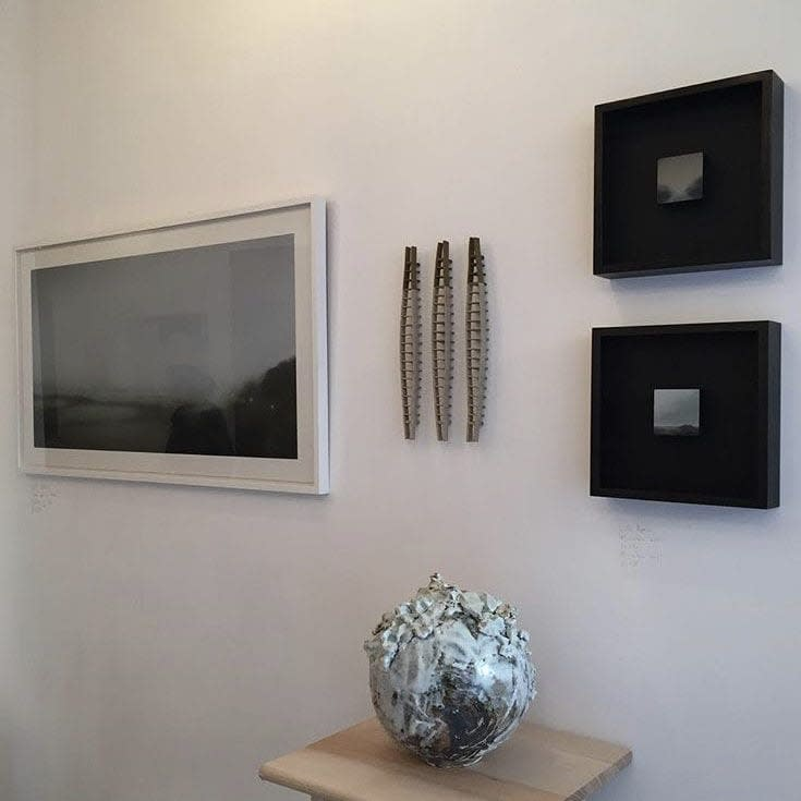 One of Akiko's moon jars alongside a set of River Ladders by Annie at our show in December – sitting rather beautifully next to paintings by Gill Rocca