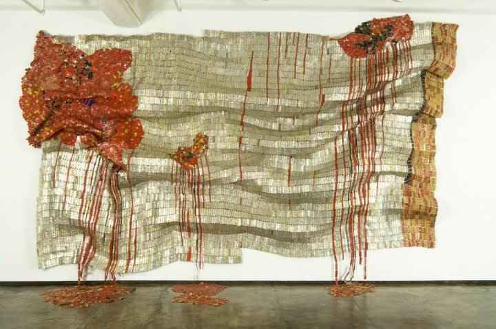Bleeding Takari II, 2007, Aluminum (liquor bottle caps) and copper wire, Photo courtesy, Susan Vogel