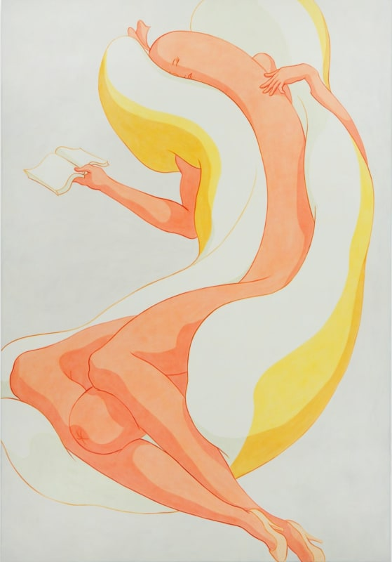 Ivy Haldeman, Sleeping Figure, Face Turned, Fingers Touch Upper Torso, Open Book, 2017