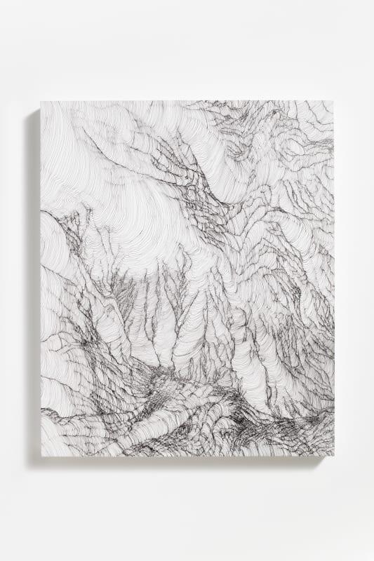 Mio Yamato, BLACK LINE 37, 2020, Ink on canvas, 61×50cm