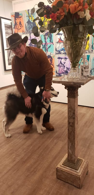 Furry friend enjoyed Miles Glynn Artist Reception too