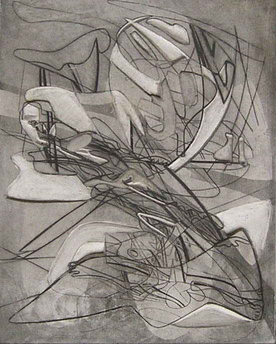 Stanley William Hayter, Myth of Creation, 1941, carved plaster print