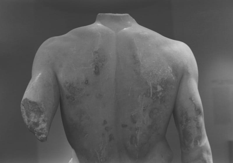 Jeff Weber, Torso Studies (The Doryphoros of Polykleitos, Roman, After the Original, ca. 450-440 BC), 2015, Gelatin silver print 5 x 7 in. (unframed), 45 x 53 cm (framed), Edition of 4 + 2 AP